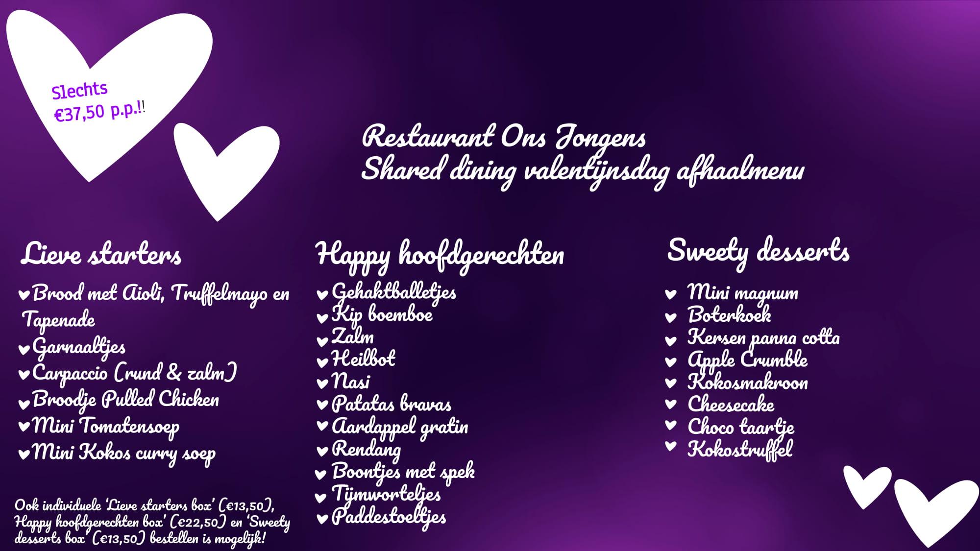 Valentijn menu